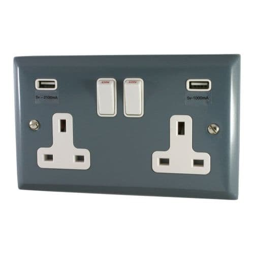 G&H SDG910W Spectrum Plate Dark Grey 2 Gang Double 13A Switched Plug Socket 2.1A USB